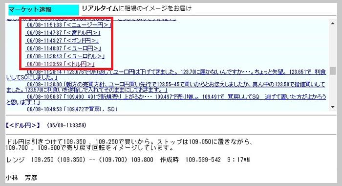 JFXのリアルタイム・マーケット速報画面