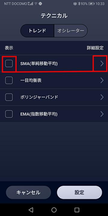 SMA(単純移動平均)の表示画面(SBIネオモバFX)