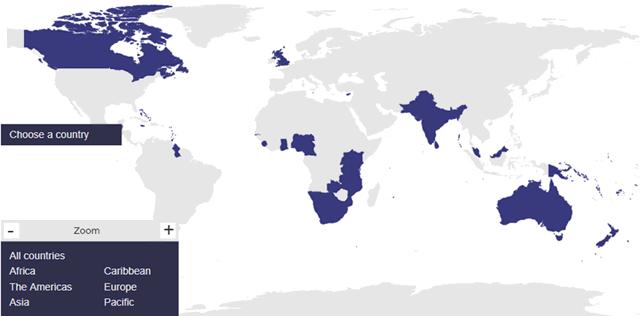 イギリス連邦加盟国の地図
