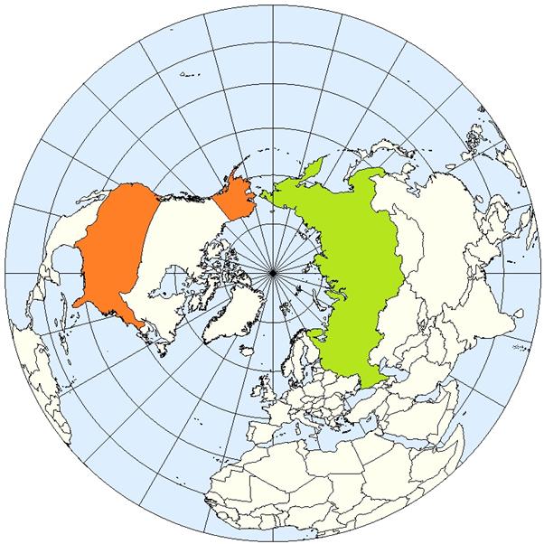 北極を中心とした地図