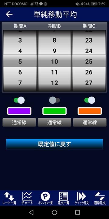 パラメーター(変数)変更画面(LIONFXスマホアプリ)